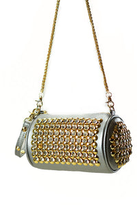 Rhinestone Saddle Baguette with Shoulder Chain Bag