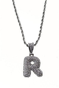 BUBBLE CRYSTAL INITIAL PENDANT NECKLACE