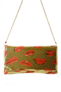 LIPS PRINTED EVENING CLUTCH