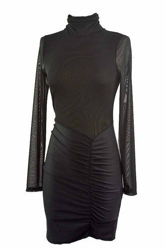 MESH LONG SLEEVE  BODYCON DRESS