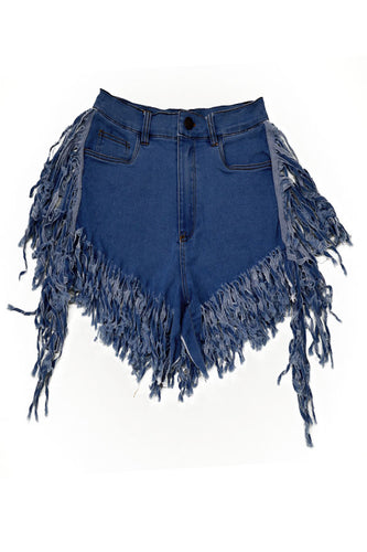 DENIM FRINGE SHORTS PANTS