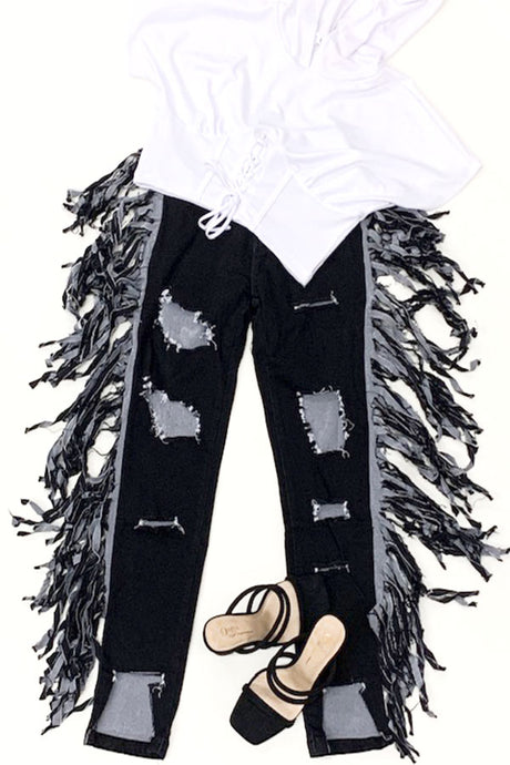 FRINGE DENIM LONG PANTS