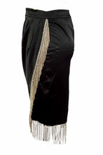 Load image into Gallery viewer, SATIN CROP TOP RHINESTONE FRINGE SKIRT SET