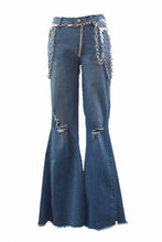 Load image into Gallery viewer, Silver Chunky Chain Belt Flare Jeans