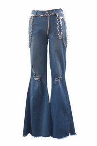 Silver Chunky Chain Belt Flare Jeans