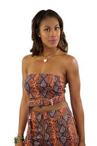 SNAKE  PRINT CROP TOP WITH PANTS SET