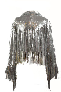 SEQUINS FRINGE JACKET