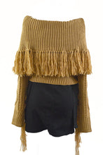 Load image into Gallery viewer, OFF SHOULDER TASSEL SWEATER