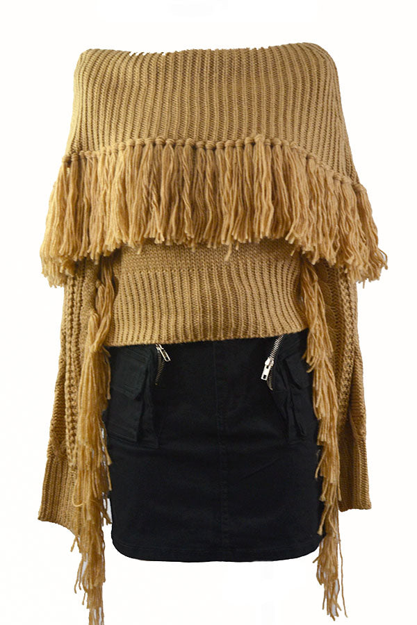 OFF SHOULDER TASSEL SWEATER
