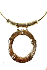 BAMBOO RING PENDANT CHOKER NECKLACE