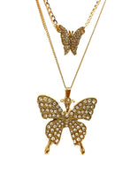 Load image into Gallery viewer, RHINESTONE BUTTERFLY PENDANT LAYER NECKLACE