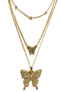 RHINESTONE BUTTERFLY PENDANT LAYER NECKLACE
