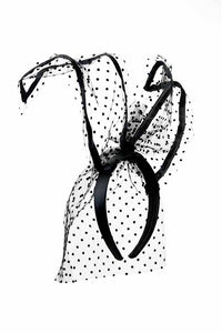 POLKA DOT VEIL BUNNY EAR HEADBAND