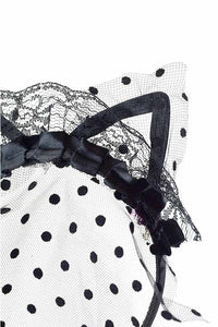 POLKA DOT VEIL CAT EAR HEADBAND
