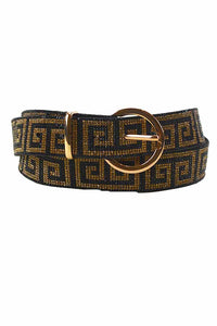 GREEKY PATTERN PAVE CRYSTAL BUCKLE BELT