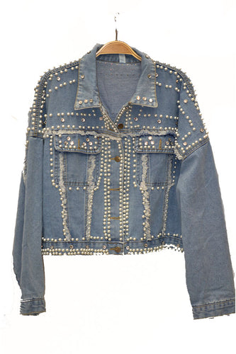 PEARL DETAIL DENIM JACKET