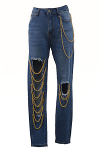 LINK CHAIN DETAIL JEANS
