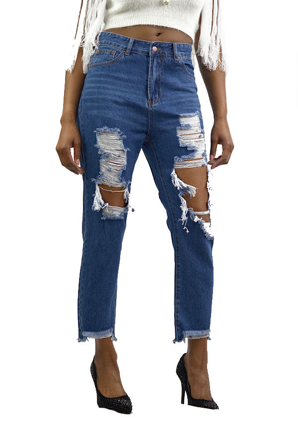 BLUE HEAVY DISTRESSED CROPPED DENIM PANTS