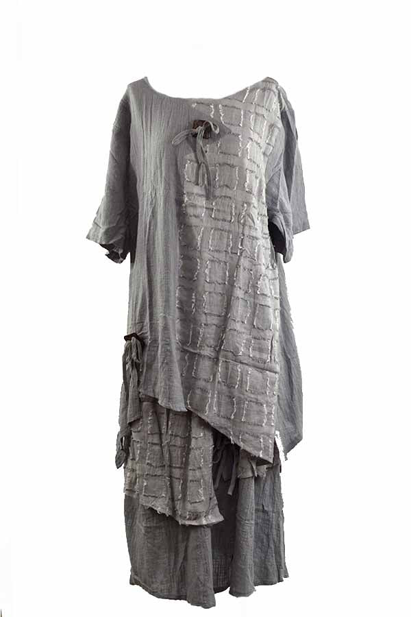 LINEN SHORT SLEEVE TOP AND LONG SKIRT SET