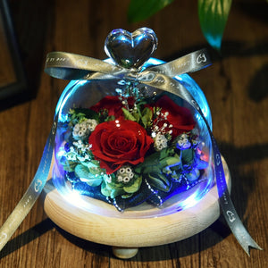 Eternal Rose Flower In Glass with 5 Led Lights