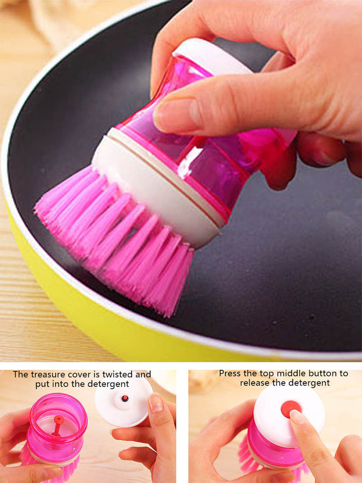 Kitchen Dish Brush With Liquid Soap Dispenser