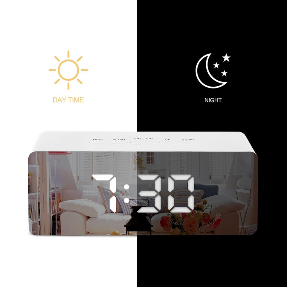 Mirror Alarm Digital Clock LED - Temperature