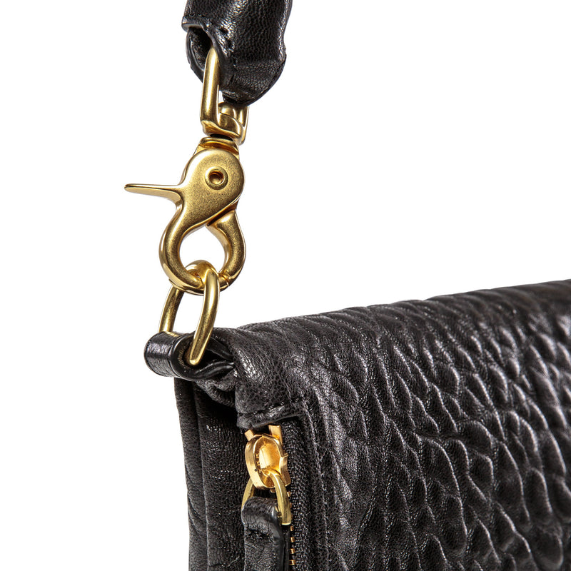 Bobi - classic leather clutch bag in black