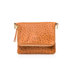 Bobi - designer leather clutch bag in tan ostrich