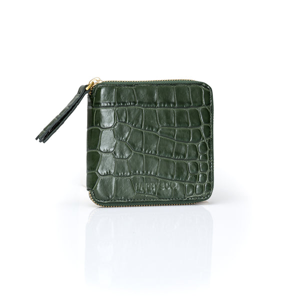 Mini Zip It Up Wallet - Emerald Croc Emboss
