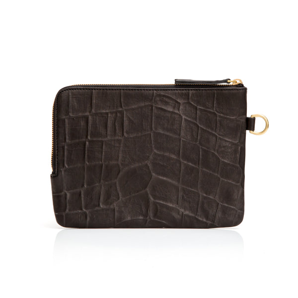 Percy Purse - Black Croc Emboss