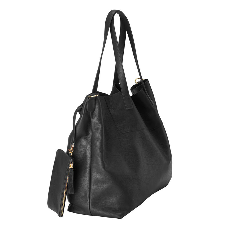 Always - Large leather tote bag in black