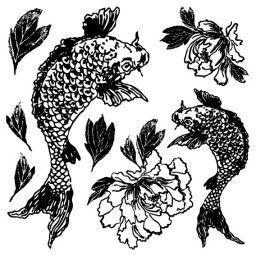 Koi and Peony Decor stamp