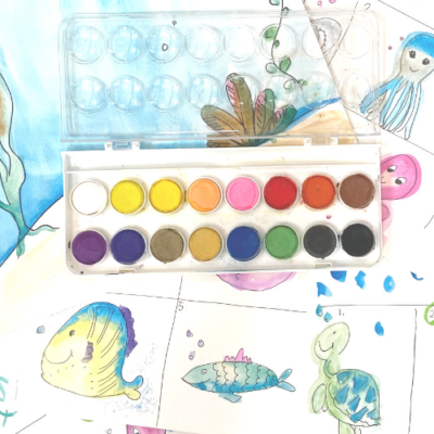 Mermaid Paint- Watercolor set- Paint Pixie