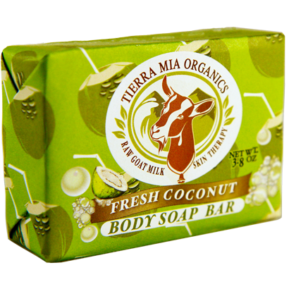 Front of Fresh Coconut Body Soap Bar made with 100% organic coconut oil and goat milk