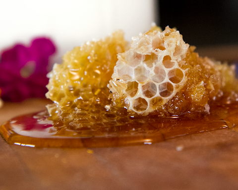 real_fresh_honey_comb_dripping_with_honey_on_wooden_board
