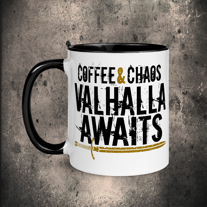 COFFEE & CHAOS MUG / 11oz - BLACK-OMƎN
