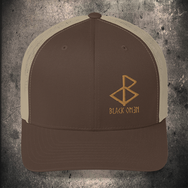 BLACK-OMƎN LOGO TRUCKER HAT / BROWN / KHAKI / OLD GOLD