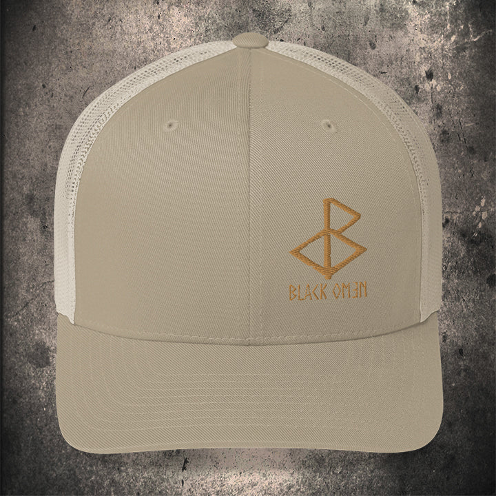 BLACK-OMƎN LOGO TRUCKER HAT / KHAKI / OLD GOLD