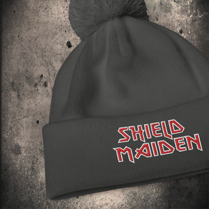 LIMITED EDITION SHIELD MAIDEN POM POM BEANIE - BLACK-OMƎN