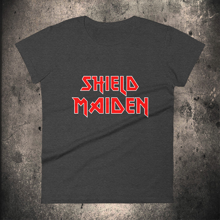 LIMITED EDITION SHIELD MAIDEN Ladies T-Shirt - BLACK-OMƎN