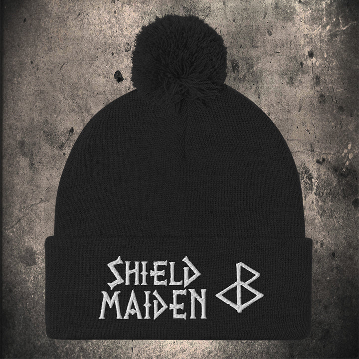 SHIELD MAIDEN BLACK Pom-Pom Beanie