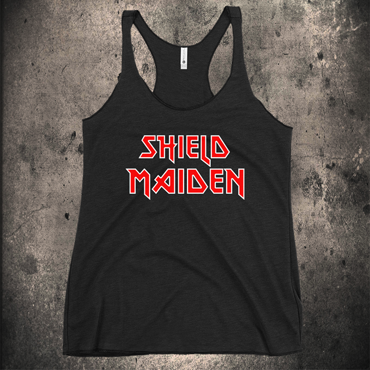 LIMITED EDITION / SHIELD MAIDEN WOMENS RAZORBACK TANK - BLACK-OMƎN