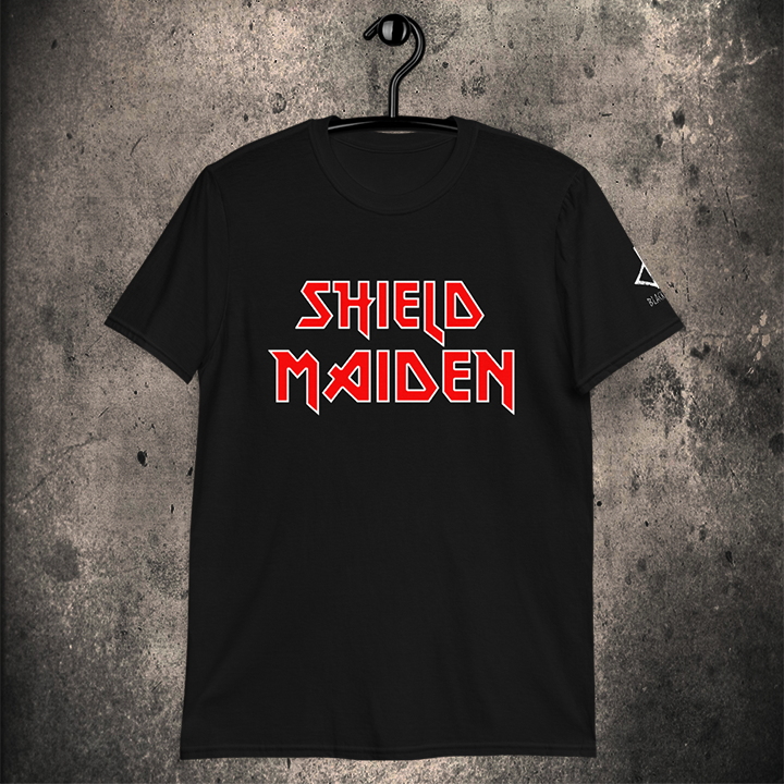 LIMITED EDITION SHIELD MAIDEN UNISEX T-SHIRT / 3 COLOURS - BLACK-OMƎN