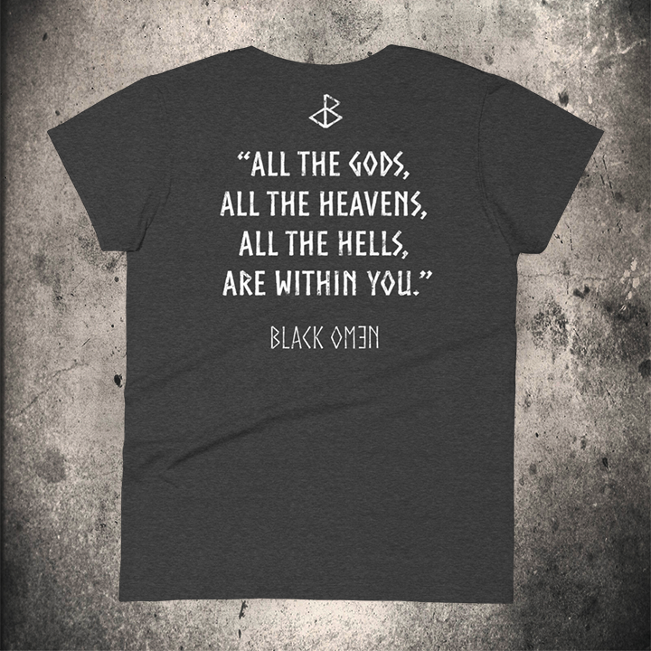 ALL THE GODS Ladies T-Shirt DARK HEATHER GREY - BLACK-OMƎN