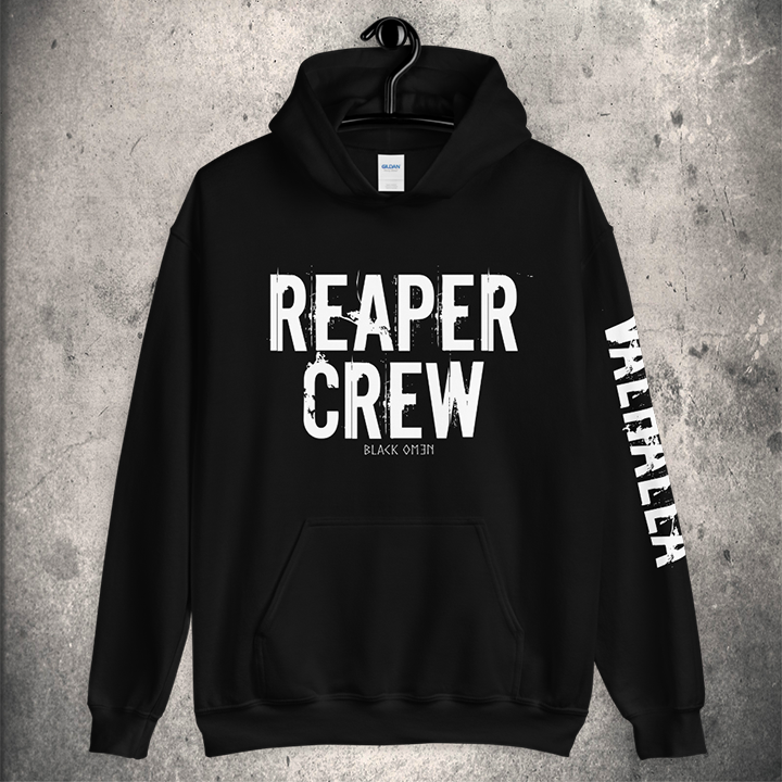 REAPER CREW HOODIE (Valhalla Sleeve Edition) - BLACK-OMƎN
