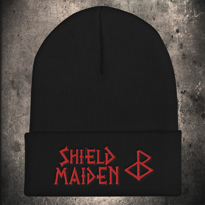 SHIELD MAIDEN BEANIE BLACK / RED