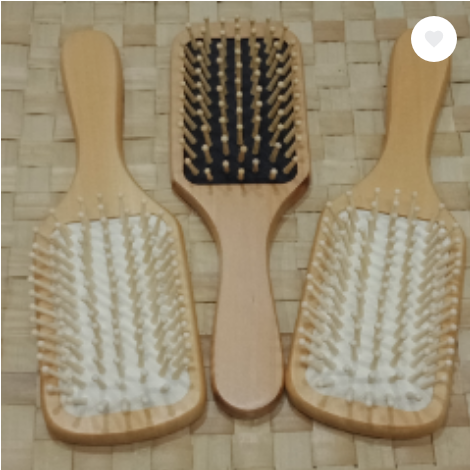WOODEN HAIRBRUSH (MEDIUM PADDLE BRUSH BLACK AND WHITE)