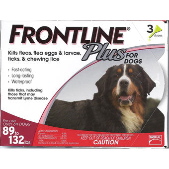 Frontline Plus for Dogs 89-132 lbs 3 Dose