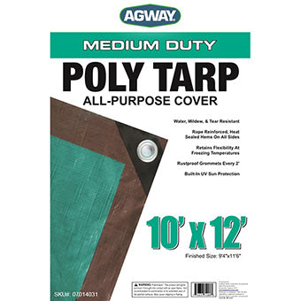 AGWAY POLY TARP BROWN/GREEN 10 FT X 12 FT