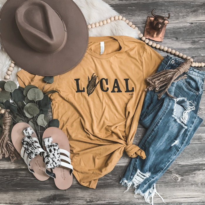 """Local"" Corn Graphic Tee in Mustard"